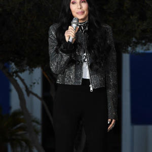 Cher commands attention in a glitzy jacket at an early vote rally