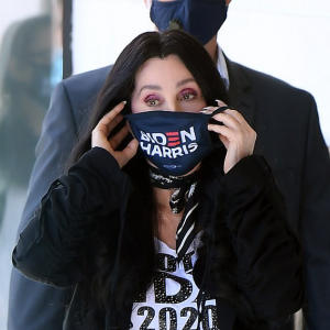 Cher wears Biden-Harris face mask before performing at Las Vegas rally
