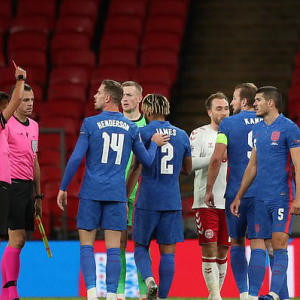 James shown RED CARD after full-time whistle on first England start